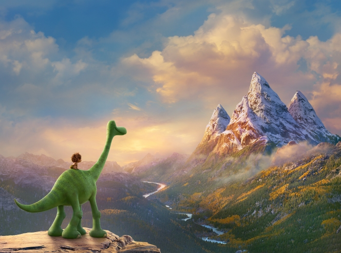 AN UNLIKELY PAIR - In Disney•Pixar's THE GOOD DINOSAUR, Arlo, an Apatosaurus, encounters a human named Spot. Together, they brave an epic journey through a harsh and mysterious landscape. Directed by Peter Sohn, THE GOOD DINOSAUR opens in theaters nationwide Nov. 25, 2015. ©2015 Disney•Pixar. All Rights Reserved.