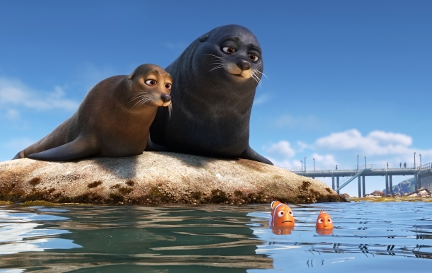 """FINDING DORY –Marlin and Nemo get guidance from a pair of lazy sea lions in an effort to catch up with Dory. Featuring Idris Elba as the voice of Fluke and Dominic West as the voice of Rudder, """"Finding Dory"""" opens on June 17, 2016. ©2016 Disney•Pixar. All Rights Reserved."""